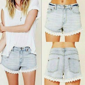 Free People Lace Trim Distressed Cutoff Shorts
